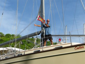 Dousing the Grenada courtesy flag...the official end of the season