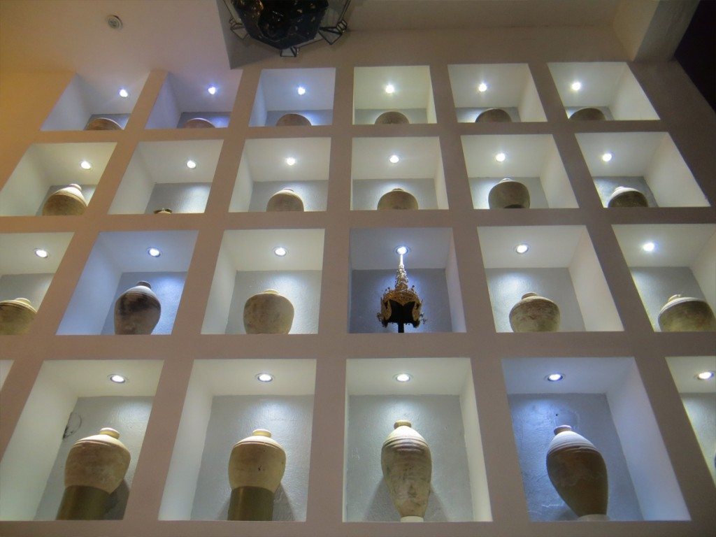 Hotel wall of vases
