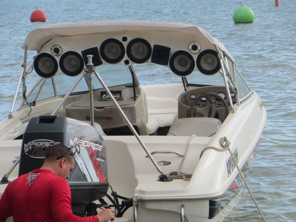 boat with speakers