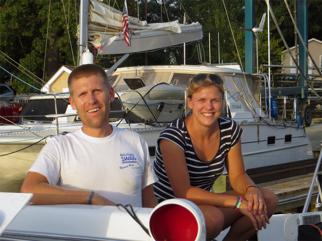 Andy and Mia, Caribbean 1500 staff and temporary dock neighbors at Port Annapolis Marina