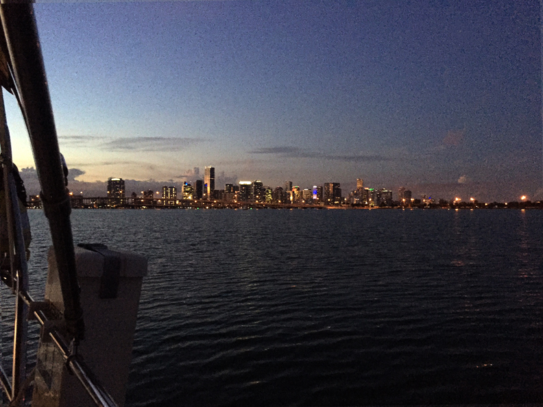 Miami skyline from stern