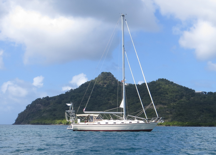 at anchor in Tyrell Bay, Carriacou