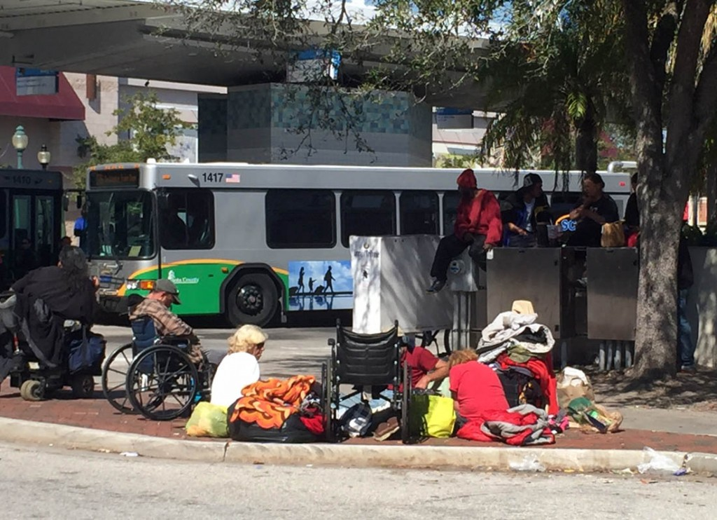 Homeless bus stop