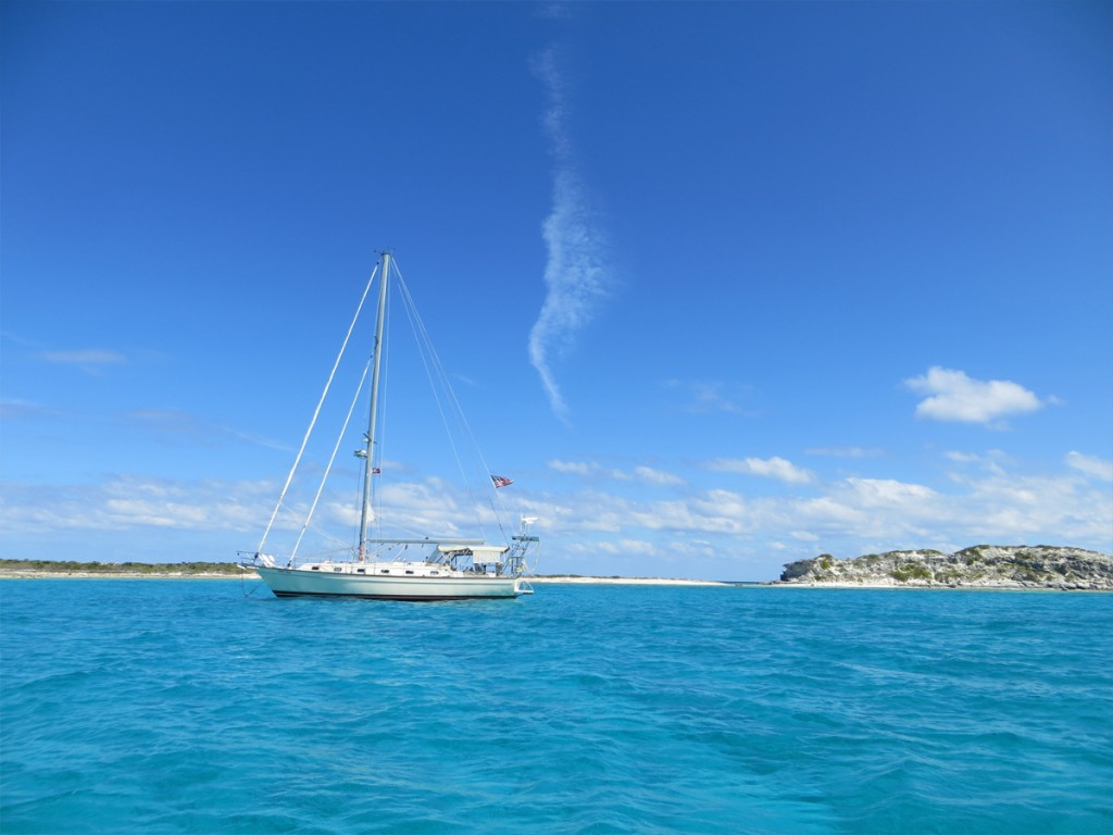 at anchor in Water Cay, Jumentos, Bahamas