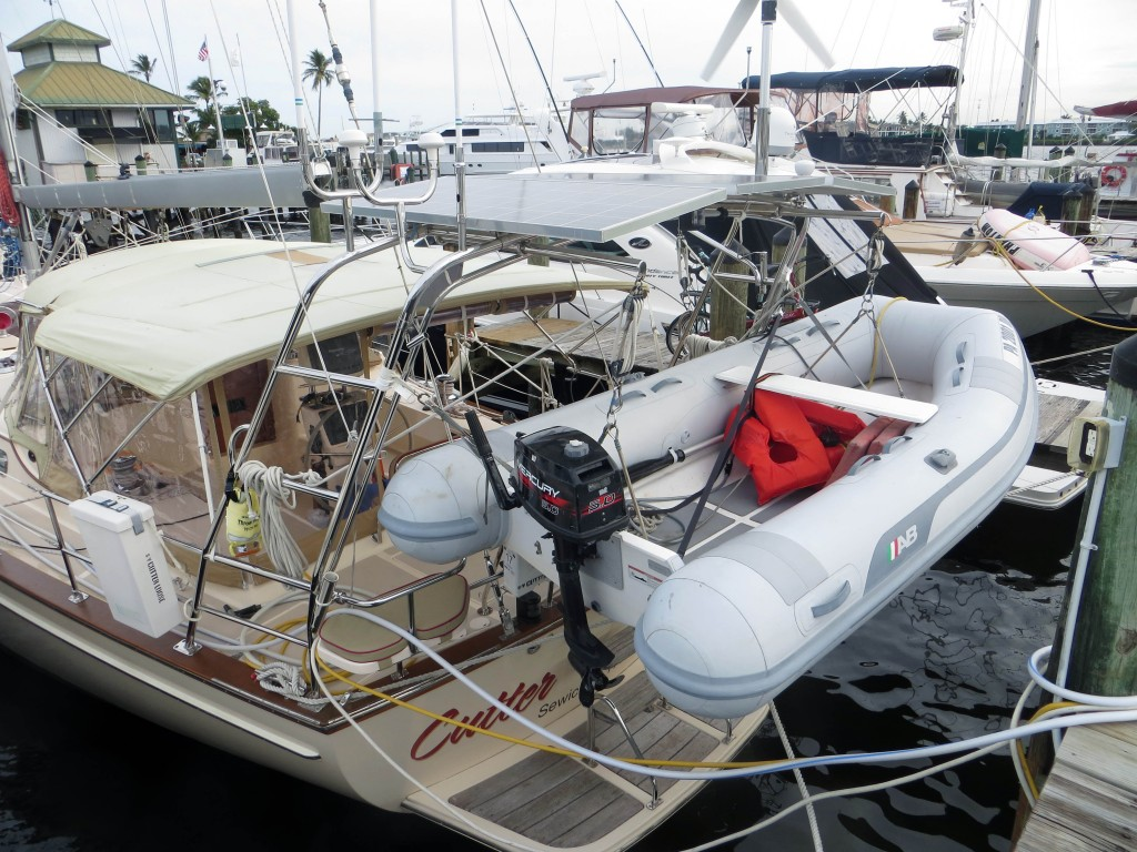 dinghy davits with block and tackle integrated into KATO stern arch