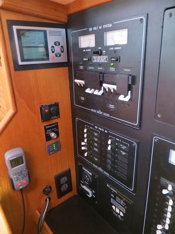 electronic barometer, Raymarine Smartcontroller, polarity sensor, bilge alert and anchor light switch in nav station