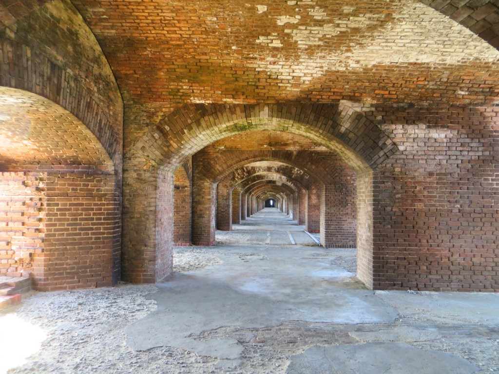 Curved arches inside Fort Jeff