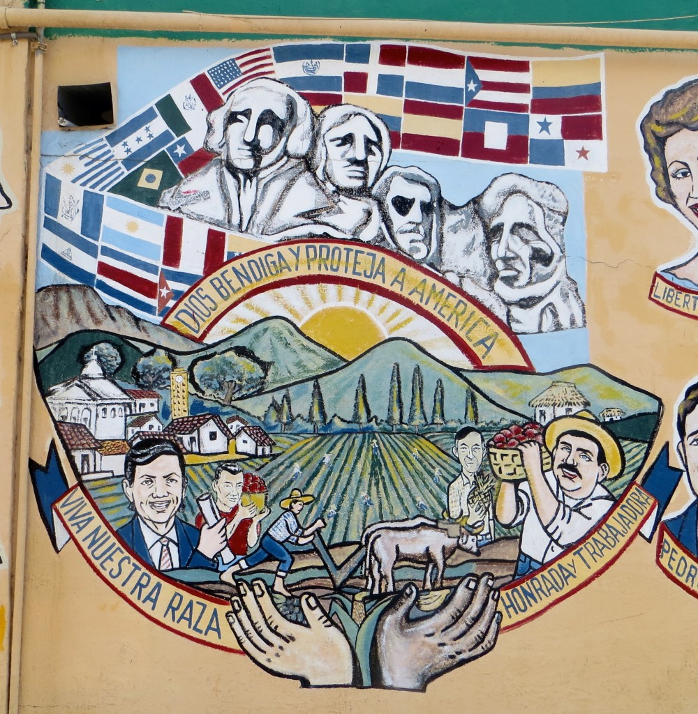 Painted wall mural about America