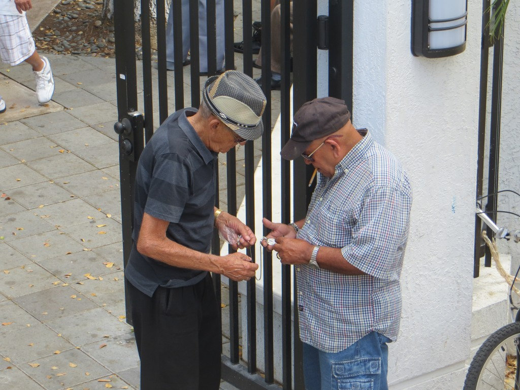 men exchanging money